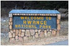 picture of welcome sign to Hwange National Park