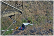 bungy jumping off a bridge in Zimbabwe